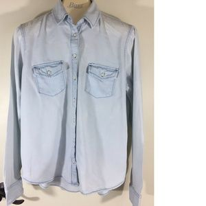 Women's Button Front Chambray Jean L/S Shirt Top